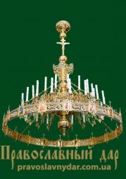 1-tiered chandelier for 36 candles, 18 branches with horos - фото