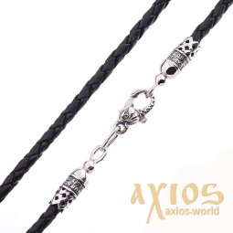 Leather cord «Save and save» with silver clasp «Fish» (3mm), silver 925, leather, О 18154 - фото