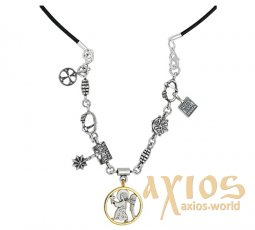 Necklace - pendant «Christmas» with Angel`s image and Bethlehem star, silver 925 °, gilding - фото