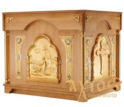 The altar is rectangular, wooden, №3 with a door and gilded elements, a light tree - фото