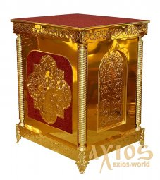 Altar, 75х85 cm, damask, dsp, chasing, collapsible, with cast legs (red) - фото