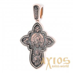 Native cross «Savior Not Made by Hands. Assumption of the Mother of God», gold 585 °, with blackening 30x18 mm, О п02638 - фото