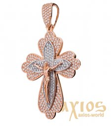 Neck cross, gold 585 with rhodium, 60x35mm, O 270056 - фото