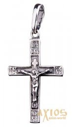 The cross «Crucifixion», silver 925, with blackening, 30х15mm, О 132194 - фото