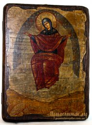 Icon of the Holy Theotokos antique bread 13x17 cm Sporitelnitsa - фото