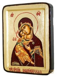 Icon of the Blessed Virgin Vladimir of Greece Greek style in gilding 13x17 cm - фото