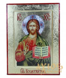 The Icon of the Savior on a tree in gilding, only in Axios, 21x28 cm - фото