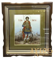 The written icon of St. George the Victorious is 27x31 cm, in a wooden kiot under the glass - фото