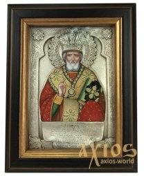 Icon in metal Nikolay, silver-plated, frame made of wood, 9х11 cm - фото