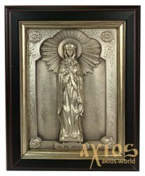 Icon in metal Ludmila, silver-plated, frame made of wood, 9х11 cm - фото