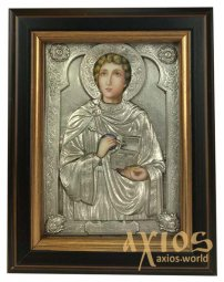 Icon in metal Panteleimon, silver-plated, frame made of wood, 9х11 cm - фото