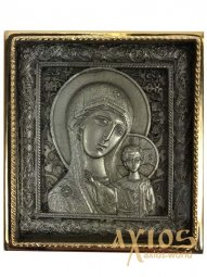Icon in metal The Virgin of Kazan, silver-plated, gilded frame, 5х5 cm - фото