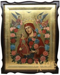 Writed icon of the Virgin, Unfading color, inlaid stones, 41x51 cm (size with a kiot) - фото