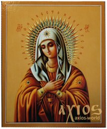 Icon of the Blessed Virgin Mary (medium), MDF, veneer (ash-tree), polygraphy, lacquer, 12x20 cm - фото