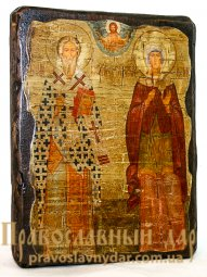 Icon antique Hieromartyr Cyprian and the Holy Martyr Justin 7x9 cm - фото