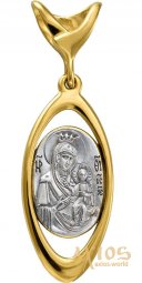 "The image of the Mother of God ""Iver"", gold 585 ° with blacking - фото"