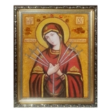 Amber Icon of the Holy Mother Seven Sisters 15x20 cm