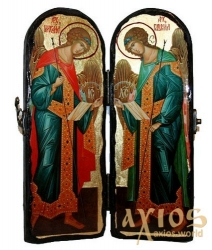 Icon under the old days Saints Archangels Michael and Gabriel Skladen double 10x30 cm - фото