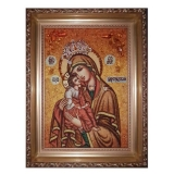 The Amber Icon of the Blessed Virgin Mary of Tzaregrad 15x20 cm