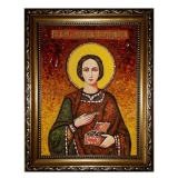 Amber Icon Holy Great Martyr and Healer Panteleimon 30x40 cm