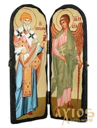Icon under the antiquity Sainted Spyridon Trimifuntsky and Saint Angel the Guardian Skladen double 10x30 cm - фото
