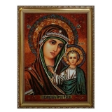 Amber Icon of Our Lady of Kazan 40x60 cm