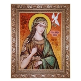 Amber Icon Holy Great Martyr Irina 15x20 cm