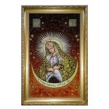 Amber Icon of the Most Holy Theotokos of the City of Ostrobramskaya 30x40 cm