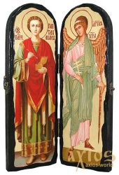 The icon under the antiquity The Holy Healer Panteleimon and the Holy Guardian Angel The folded double 10x30 cm - фото