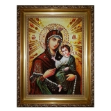 Amber Icon of the Blessed Virgin Smolenskaya 15x20 cm