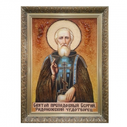 The Amber Icon The Monk Sergius of Radonezh The Wonderworker 60x80 cm - фото