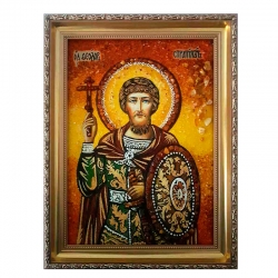 Amber Icon Holy Martyr Andrew Stratilat 30x40 cm - фото
