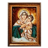 The Amber Icon of the Blessed Virgin with the Child Jesus 60x80 cm