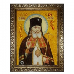 The Amber Icon of the Holy and Healer Luka Krymsky 15x20 cm - фото