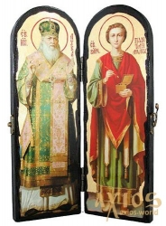 An icon for the old times St. Luke the Crimean and Holy Healer Panteleimon Warehouse double 10x30 cm - фото