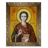 Amber Icon Holy Great Martyr and Healer Panteleimon 15x20 cm
