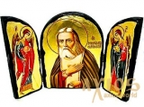 The icon under the antiquity The Reverend Seraphim of Sarov, the Wonderworker The folded triple 14x10 cm