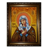 Amber Icon of the Most Holy Theotokos Temptation of 15x20 cm