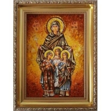 Amber Icon Holy Martyrs Faith, Hope, Love and Their Mother Sofia 15x20 cm