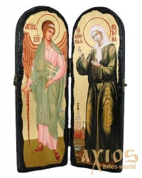 Icon under the antiquity Holy Blessed Matrona Moscow and Saint Angel the Guardian Slotted double 10x30 cm - фото