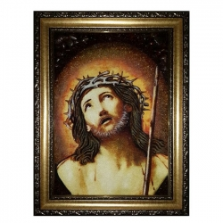 Amber Icon of the Lord in a crown of thorns 40x60 cm - фото