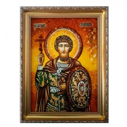 Amber Icon Holy Great Martyr Theodore Warrior 30x40 cm - фото