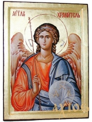 Icon of the Holy Guardian angel in gilding Greek style without casket - фото