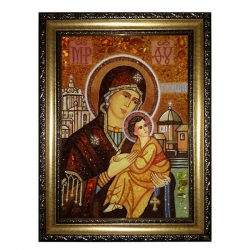 Amber Icon of the Blessed Virgin Mary Grushevskaya 15x20 cm - фото