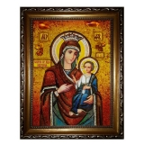 Amber Icon The Blessed Virgin Iverskaya 15x20 cm