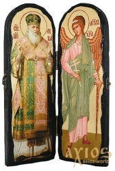 An icon for the old days St. Luke the Krymsky and the Holy Guardian Angel The folded double 10x30 cm - фото