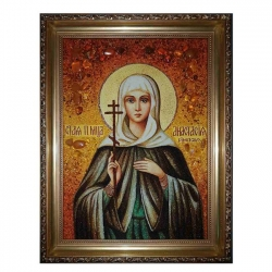 Amber Icon Holy Martyr Anastasia of Rome 15x20 cm - фото