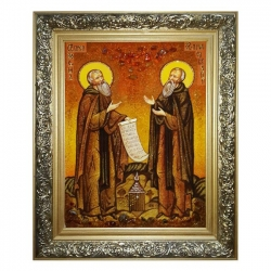 Amber icon The Monk Zosima and Savvatiy Solovetsky 30x40 cm - фото