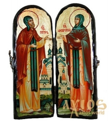 The icon under the antiquity The holy pious Peter and Fevronia of Murom Warehouse double 10x30 cm - фото