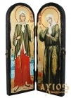 Icon under the old days Saints Blessed Xenia of Petersburg and Matrona Moscow Warehouse double 10x30 cm